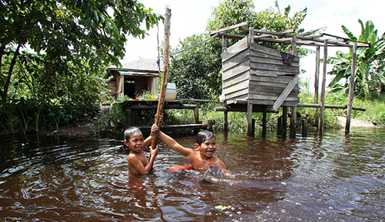 Children swim in the Mantangai River in Central Kalimantan, Indonesia. Photo by Josh Estey for AusAID