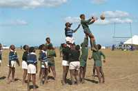 A rugby sports carnival in South Africa builds skills and knowledge of the importance of education and HIV prevention for reducing poverty.