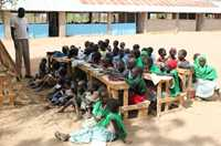 Somali children attend an outdoor classroom at the Friends Primary School in Ifo Refugee Camp, Dadaab, Kenya.