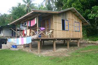 A new house with woven bamboo walls and a tin roof in Papua New Guinea. Photo by Stanley Oluwond for AusAID