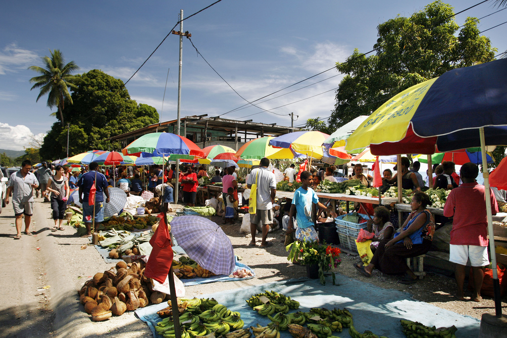 Open-air fruit and vegetable market in Honiara, Solomon Islands Photo by Rob Maccoll for AusAID