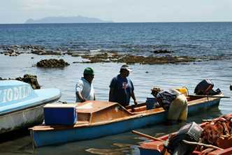 Preparing the fishing boats in Honiara, Solomon Islands. Photo by Rob Maccoll for AusAID