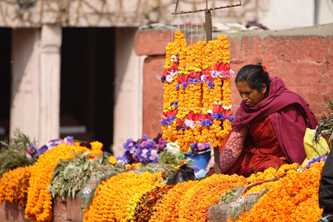 Offerings of flowers, food and incense are an important part of daily life for Hindus in Nepal. Photo by Dirk Guinan