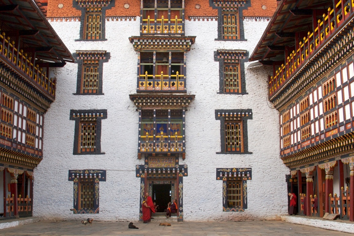 The Trashigang Dzong or Buddhist monastery in eastern Bhutan has distinctive white towering walls surrounding its courtyard. Photo by Françoise Brenckmann/Fotopedia http://creativecommons.org/licenses/by-nc/3.0/