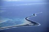 Funafuti Atoll, Tuvalu, 11 kilometres long and 150 metres at its widest, is at risk of being swamped by the sea.