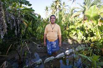 Niu Loane lost his main food source and income when a king tide destroyed his pulaka plantation in Funafuti, Tuvalu. Photo by www.rodneydekker.com