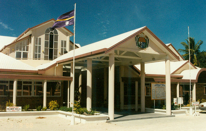 Nauru's parliament house is located in Yaren, in the south of the island. Photo by CdaMVvWgS. This image is from Wikimedia, and is in the public domain.