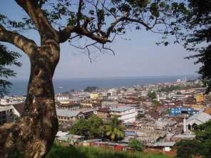Freetown, the capital of Sierra Leone and with a population of more than a million, is on the coast of the Atlantic Ocean. Photo by Jane Weston