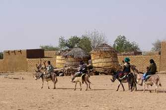 A family, riding donkeys, arrives at a small settlement in the north of Niger. Photo from World Vision Australia