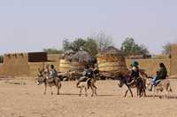 A family, riding donkeys, arrives at a small settlement in the north of Niger.