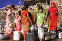 In low rainfall Rajasthan, India, villagers depend on tube wells for their water.