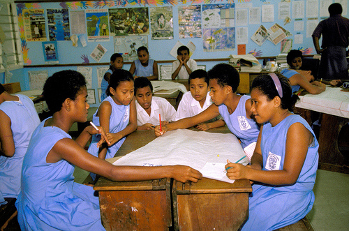 Students work in groups at Lami Convent, Suva, Fiji. Photo by Peter Davis for AusAID