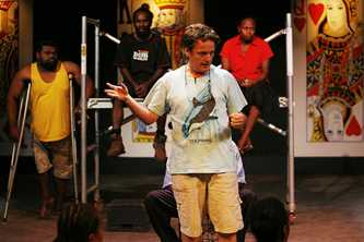 The Wan Smolbag theatre group in Vanuatu demonstrates the dangers of HIV/AIDS. Photo by Rob Maccoll for AusAID