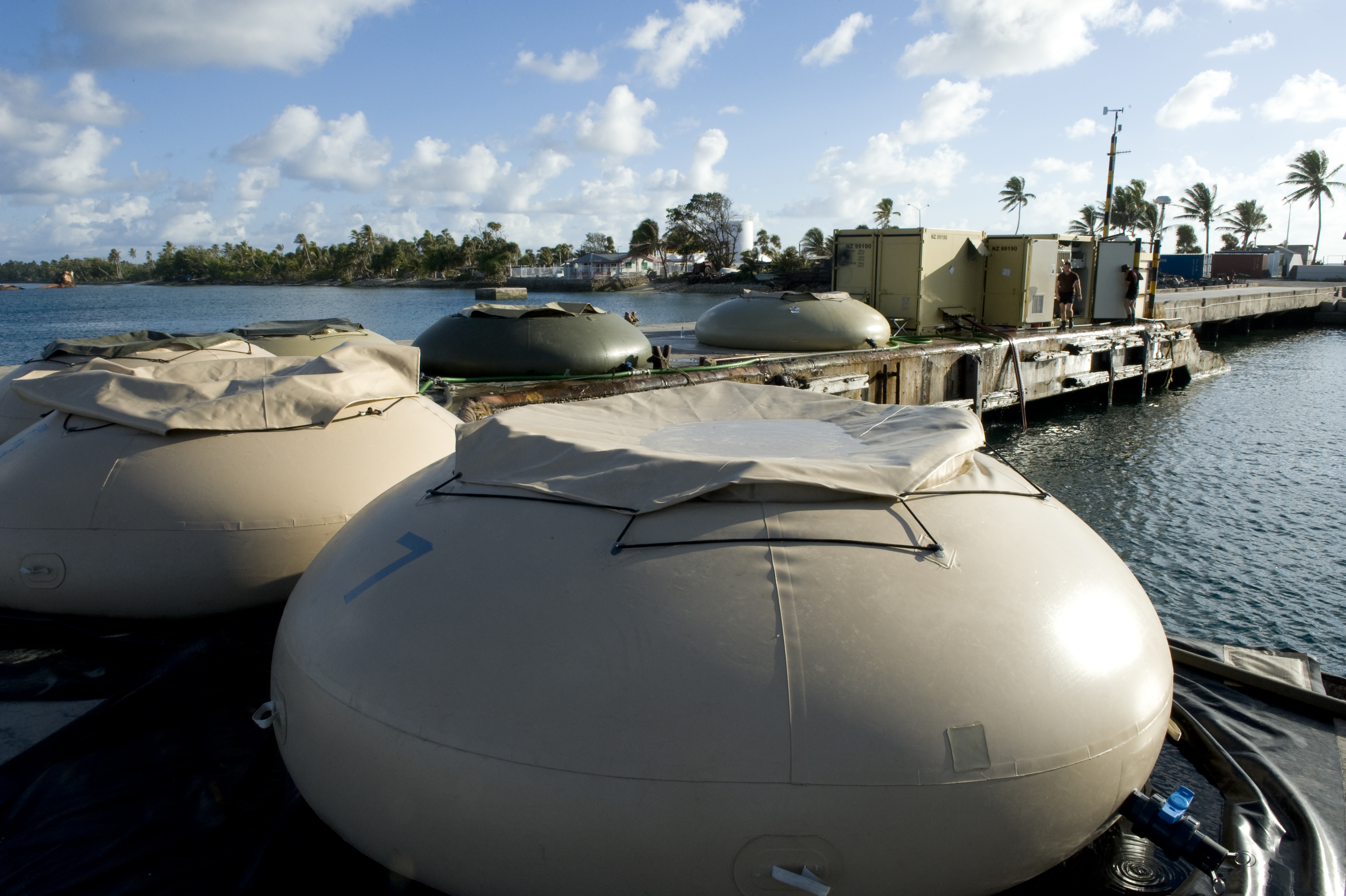 Portable desalination plants provided by New Zealand helped to create water and reduce the impact of the drought on Tuvalu. Photo by the New Zealand Defence Force