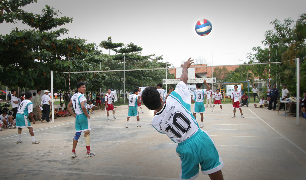 These landmine survivors compete in the Cambodian National Volleyball League (Disabled) and gain a new outlook on life. Photo by Kevin Evans for AusAID