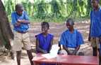 Year 8 and 9 students from Makeni Secondary School, Sierra Leone, performing a play they wrote about conflict resolution.