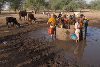 Girls draw water from a hand-built well with a protective rim, some distance from a village in Niger. Photo from World Vision Australia