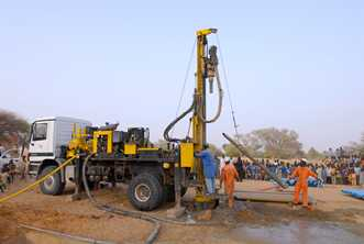 Drilling down to the water table means a pump can be installed in the village in Niger. Photo from World Vision Australia