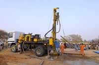 Drilling down to the water table means a pump can be installed in the village in Niger.