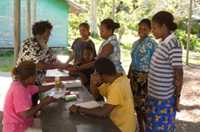 Regular blood tests provide a survey of the number of people who have the malaria parasite in their blood system, in Solomon Islands.