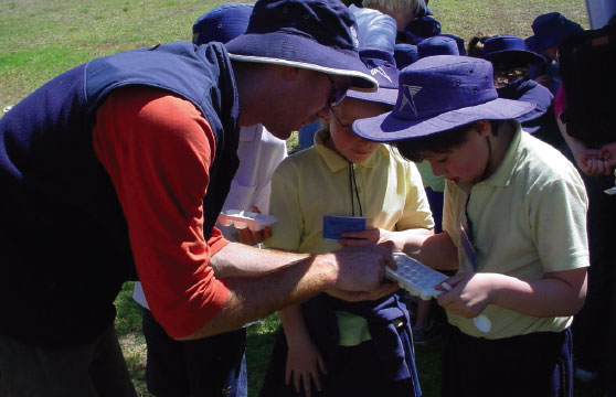 Year 3 students at Killara Primary School testing water from Blind Creek