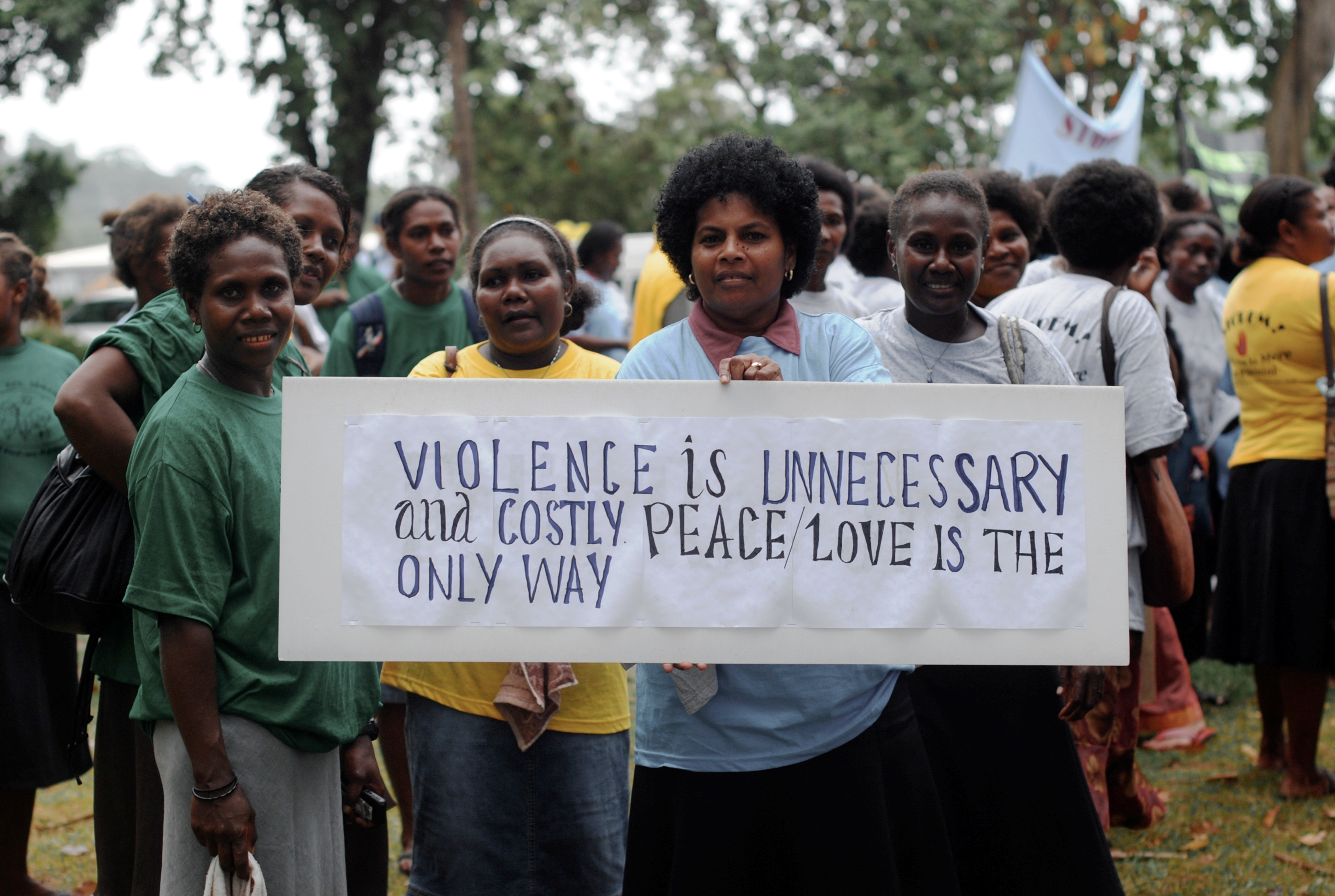 Solomon Island women gather for the annual White Ribbon Day march in Honiara to highlight domestic violence in the country. Photo by DFAT