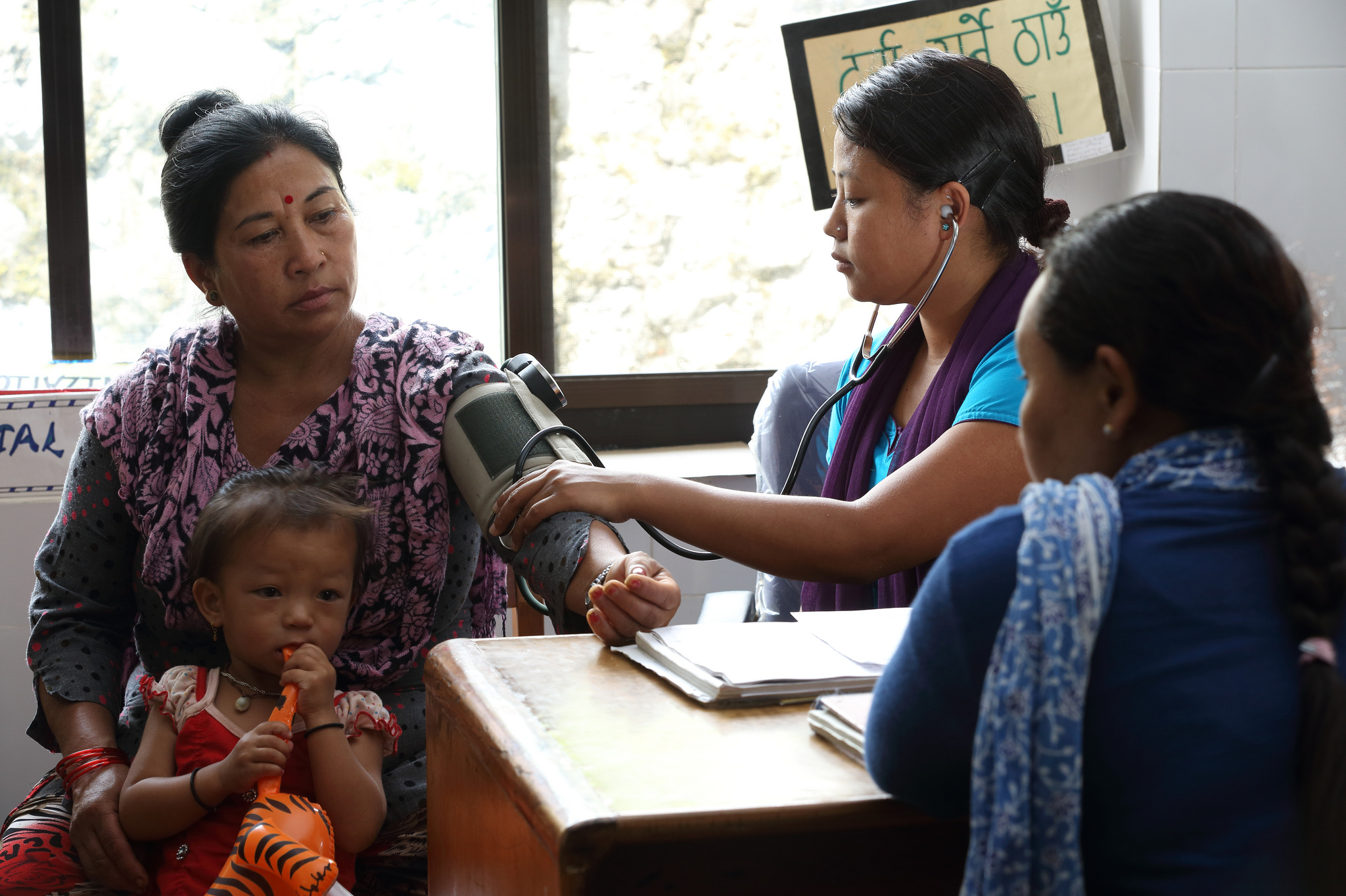Devi Gurung has a health check at a new clinic in Pokhara, Nepal Photo by Jim Holmes for DFAT