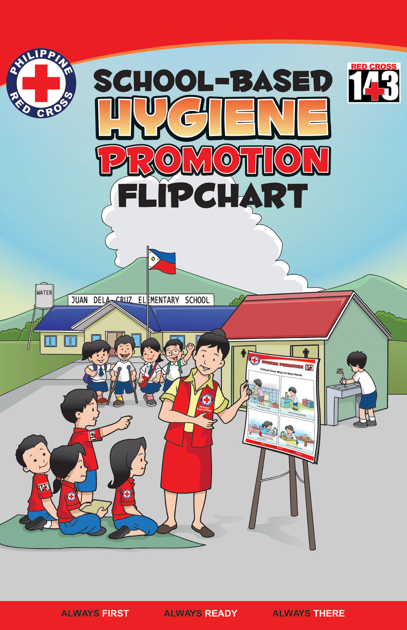 A poster showing students learning to wash their hands with soap to prevent the spread of disease in the Philippines. Poster by the Philippine Red Cross