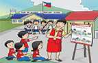 A poster showing students learning to wash their hands with soap to prevent the spread of disease in the Philippines.