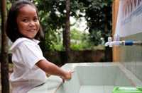 Schools in disaster-prone Philippines have upgraded facilities and installed 1,000 litres of water to supply hand basins and reduce disease.