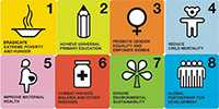 Millennium Development Goals icons for all eight goals
