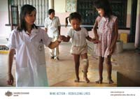 A young girl learns to walk with her prosthetic leg. Poster image