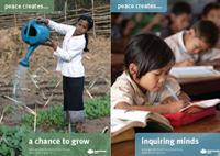 Food security and education improve in peaceful environments. Poster images