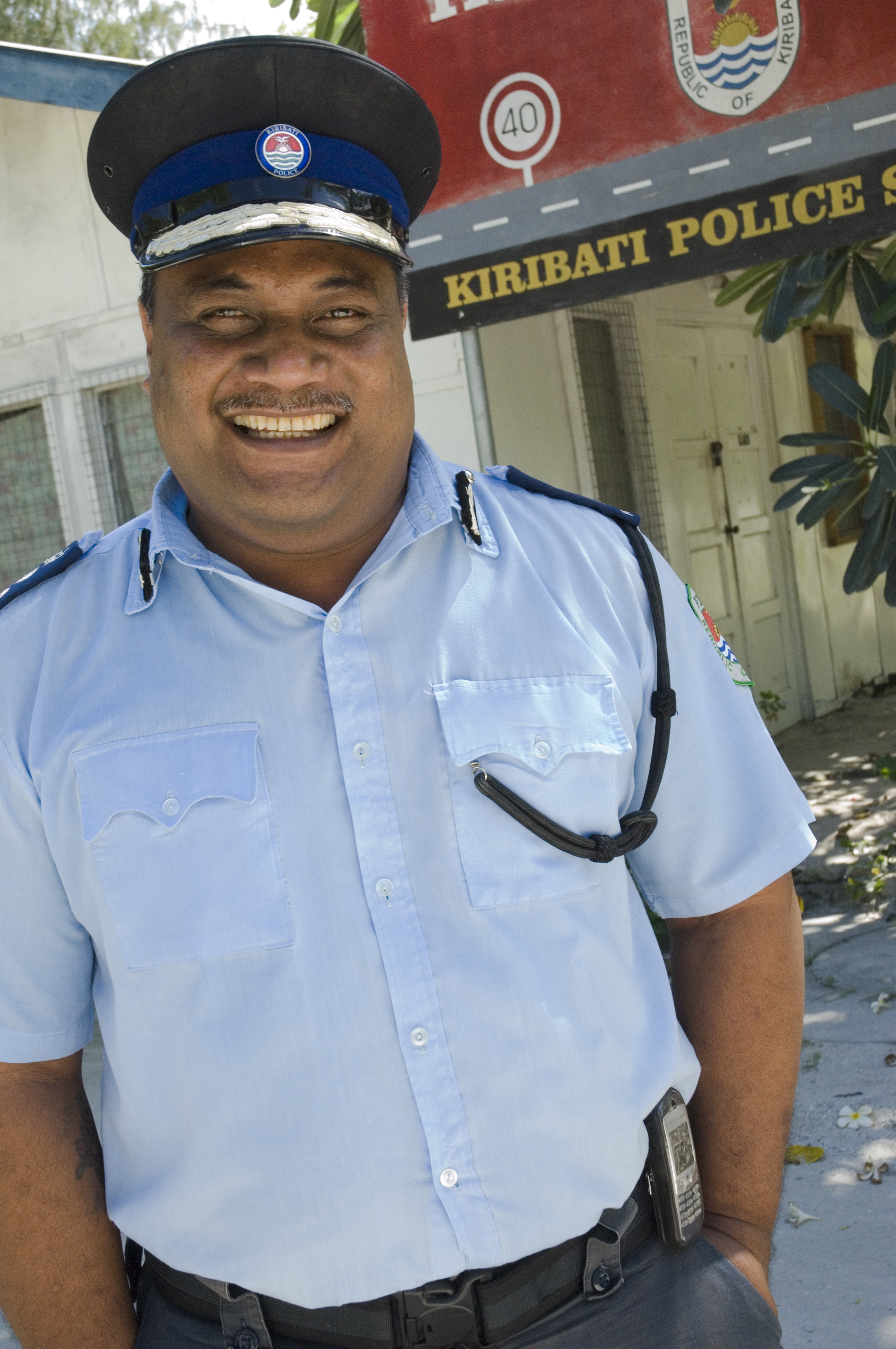 Australian Scholarship recipient Commissioner of Police Ioeru Tokantetaake in Kiribati. Image by Lorrie Graham for DFAT