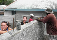 Gielston Bay students help build a water tank