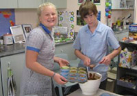 Students cooking with fairtrade chocolate