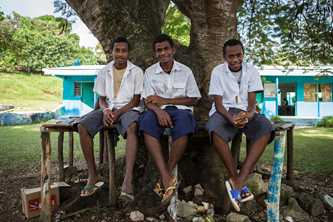 Norsup Secondary School students enjoy the shade outside school on Malekula Island, Vanuatu. Photoby Conor Ashleigh for DFAT