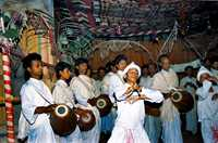 The ojapali dance from Assam, India, has a leader and followers singing and dancing to tell ancient stories.