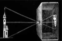 An illustration showing how the camera obscura allows light though a pinhole to projects an inverted image on the opposite side of the box.